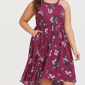 Torrid | Berry Floral High Neck Challis Dress